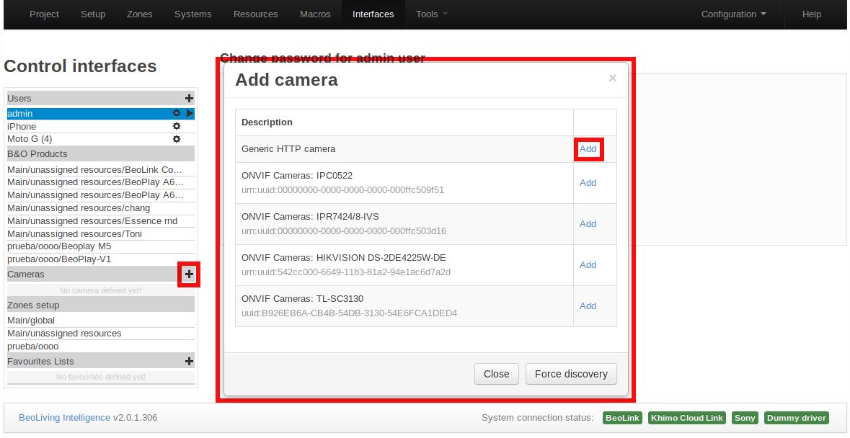 Interfaces Camera addition