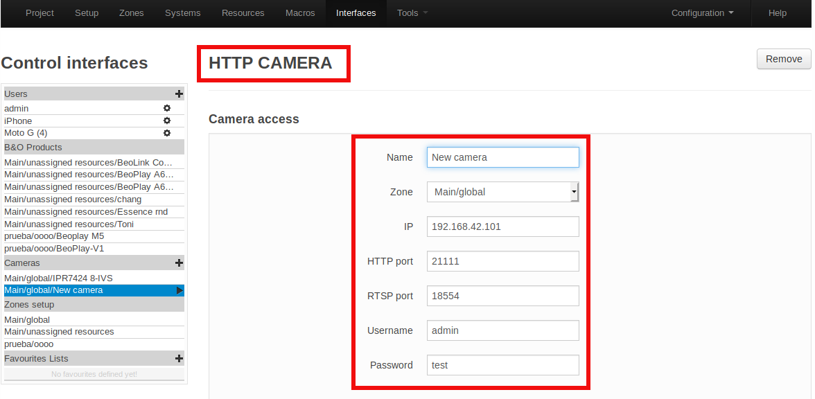 Interfaces Camera configuration