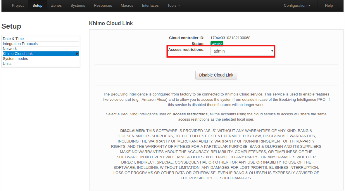 Khimo cloud link page